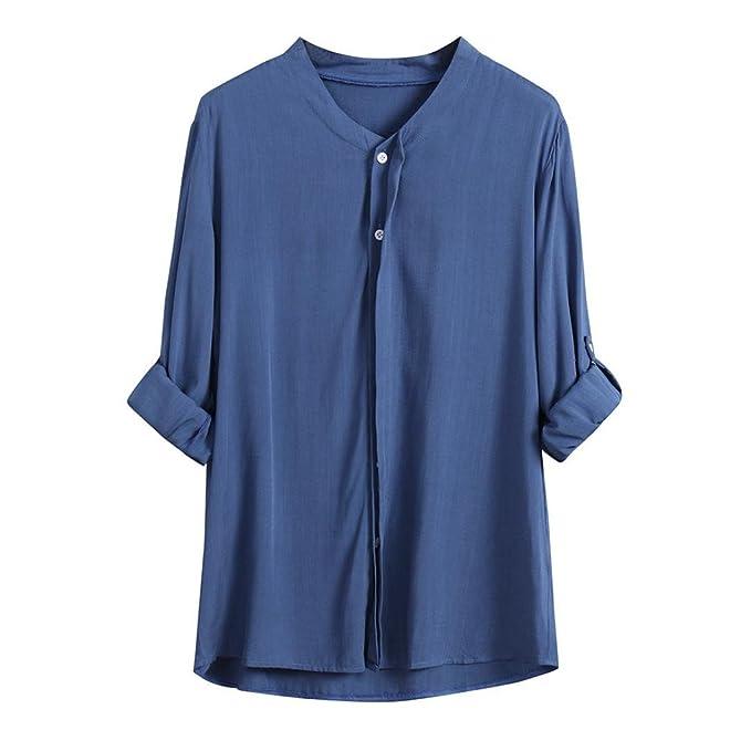 Blusa Suelta de Mujer,Camisa de Manga Larga con Cuello en V Fit