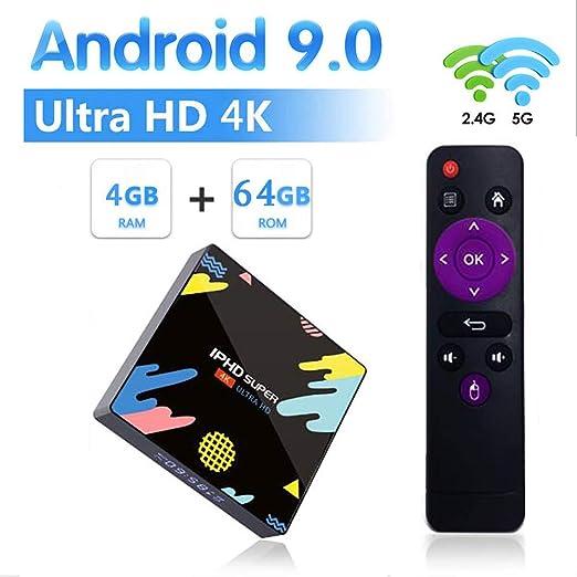 TV Box Android 9.0, Smart TV Box 4GB RAM 64GB ROM RK3318 Quad Core ...
