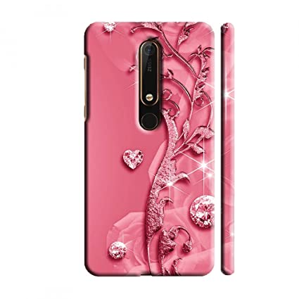 online store 7b8b1 3227e Clapcart Nokia 6.1 Designer Printed Back Cover for Nokia 6 (2018) / Nokia  6.1 (2018) -Pink Color (Heart Design Print for Girls)