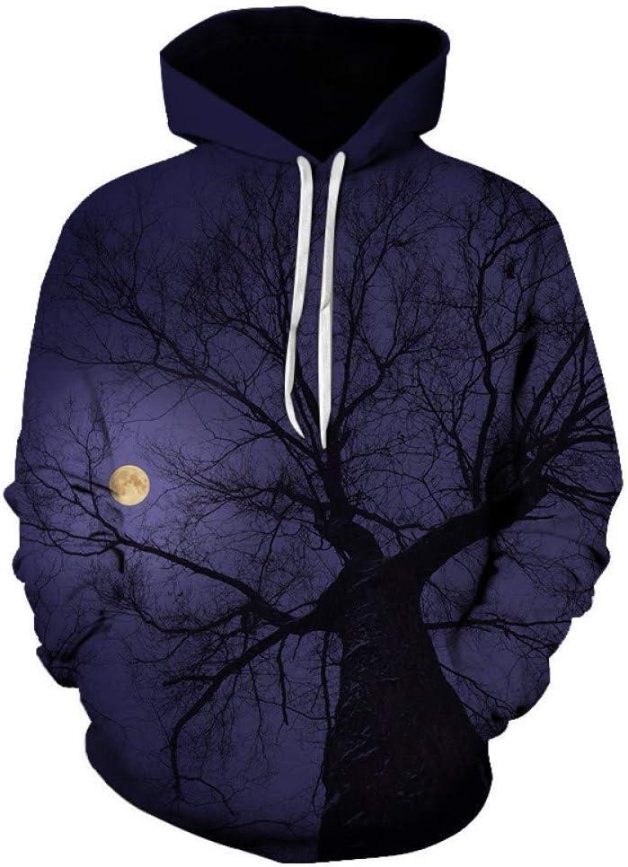 PU Frühling und Herbst New 3D Pattern Printing Hoodie Bunte Nacht Baum Männlich/Weiblich Fashion Street Hoodie,S ** L