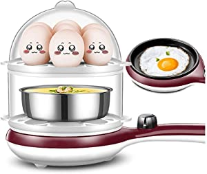 NAFE Egg Boiler and Omelette Maker | Egg Cooker, 220V-350W, Omelette Tray & Measuring Cup with Egg Piercer Included | Perfect Soft Medium & Hard Boiled Eggs | Up to 14 Egg Capacit-Coffee