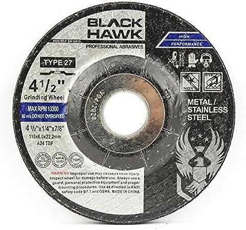 Depressed Center Wheel Hardness Grade N 5//8 Arbor 38 Pack 4 1//2 in Dia 1//4 in Thick