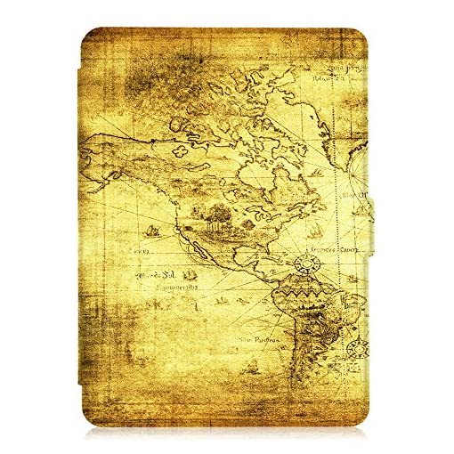 Fintie Slimshell Case for Kindle Paperwhite – Fits All Paperwhite Generations Prior to 2018 (Not Fit All-New Paperwhite 10th Gen), Ancient Map