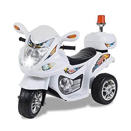 TAMCO Police Motorcycle Ride On Toy with Flash Alarm Light, Electric Power Tricycle with Foot Pedal, 7 Colors Flashlight Front Light, Music & Honk, ...