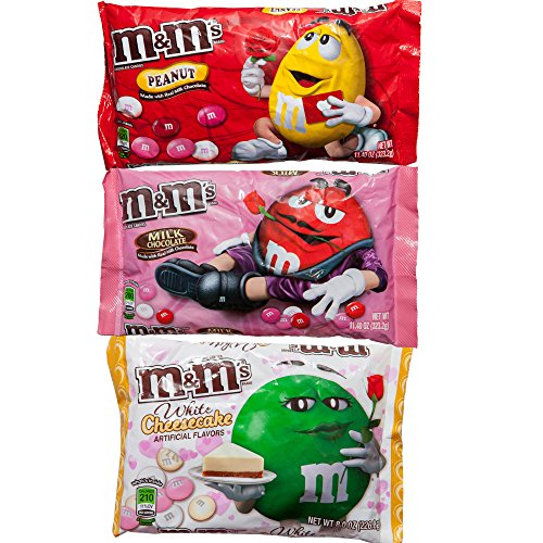 M&Ms Milk Chocolate, White Cheesecake & Peanuts Valentine Day Gift Set | Delicious Candies Treat Cupids Mix Limited Edition | For Parties, Celebrations, Decorating, Snacking | 3 Bags Total.