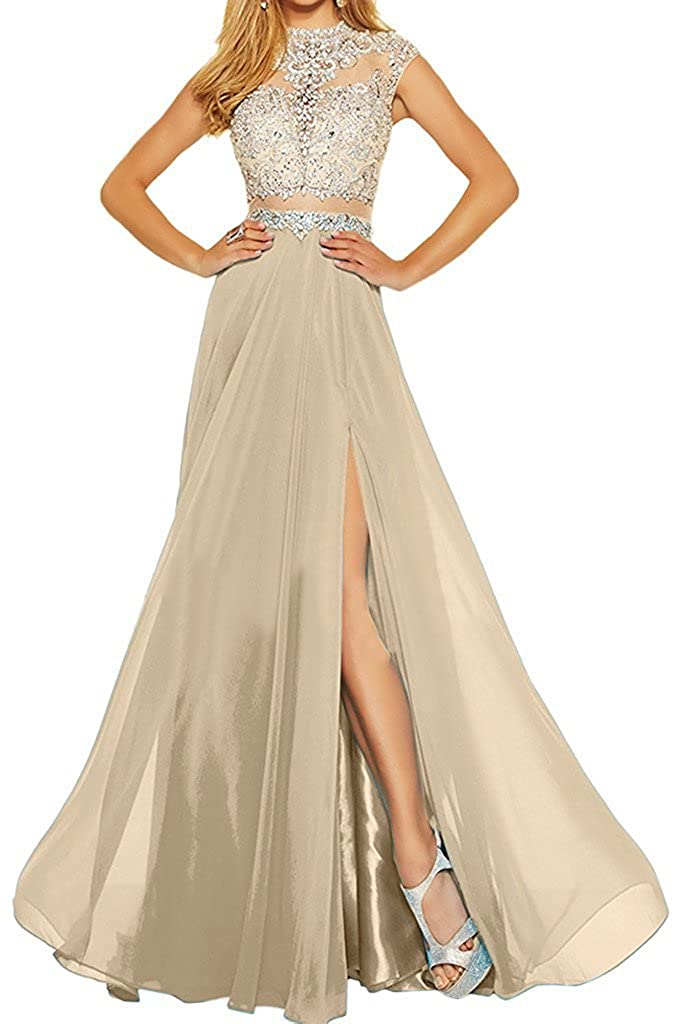 Champagne MariRobe Women's Beading Evening Dress Split Illusion Prom Gown Sleveless Backless Dance Dress for Girls Pink