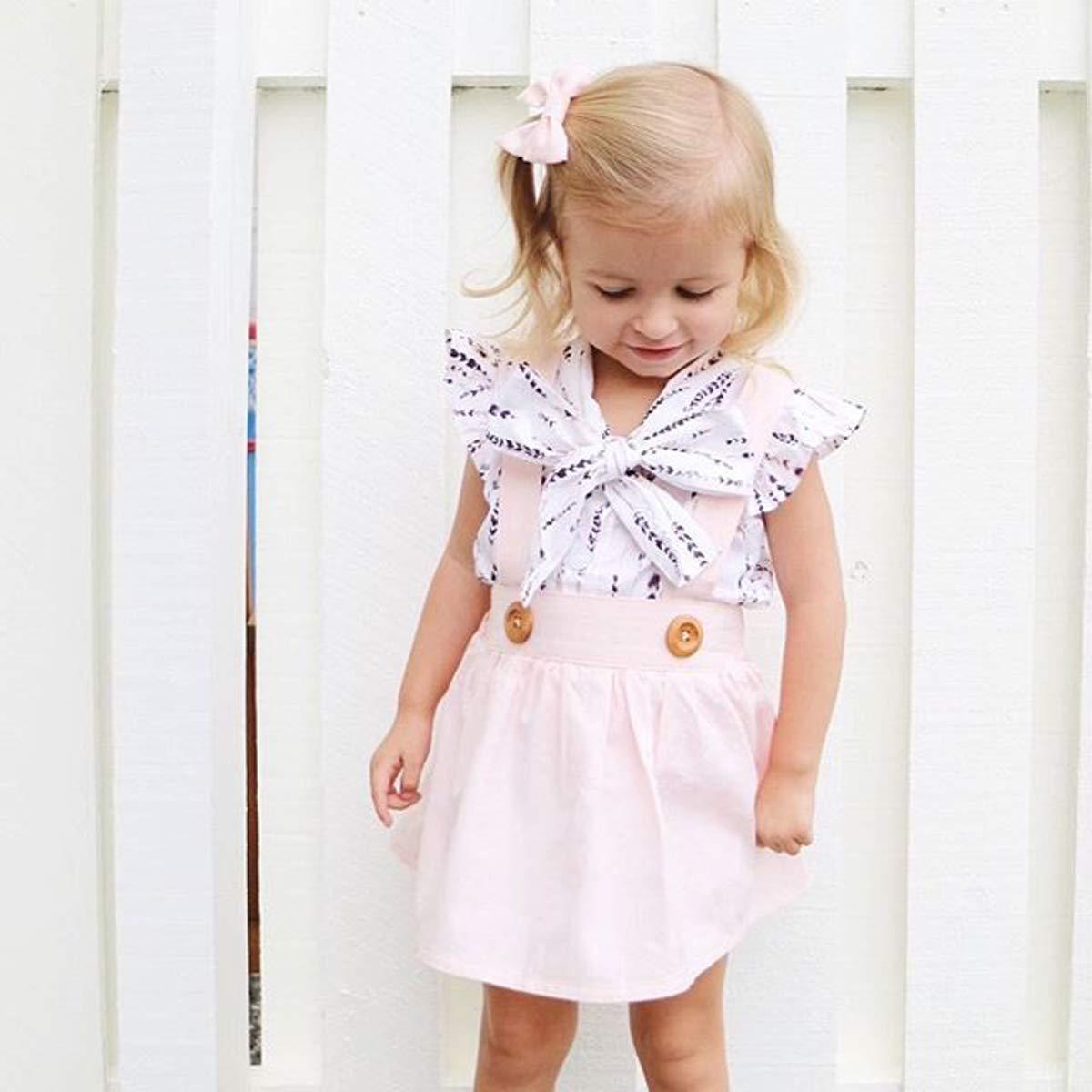 Kids Baby Girl Holiday Bowknot Skirt Set Ruffle Feather Shirt+Pink Suspender Skirt Overalls