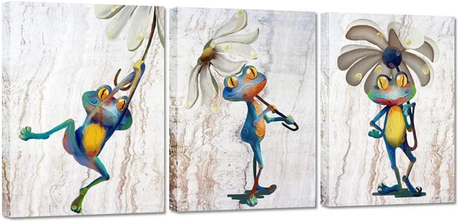 ZingArts 3 Pieces Animal Canvas Wall Art Funny Frog with Flower Umbrella Picture Painting on Canvas for Bedroom Kids Room Decor Stretched and Framed Ready to Hang 12x16inchx3pcs