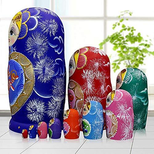 Moonmo 10pcs Blue Loving Heart Shaped Handmade Wooden Russian Nesting Dolls Matryoshka Wooden Toys by Moonmo (Image #2)