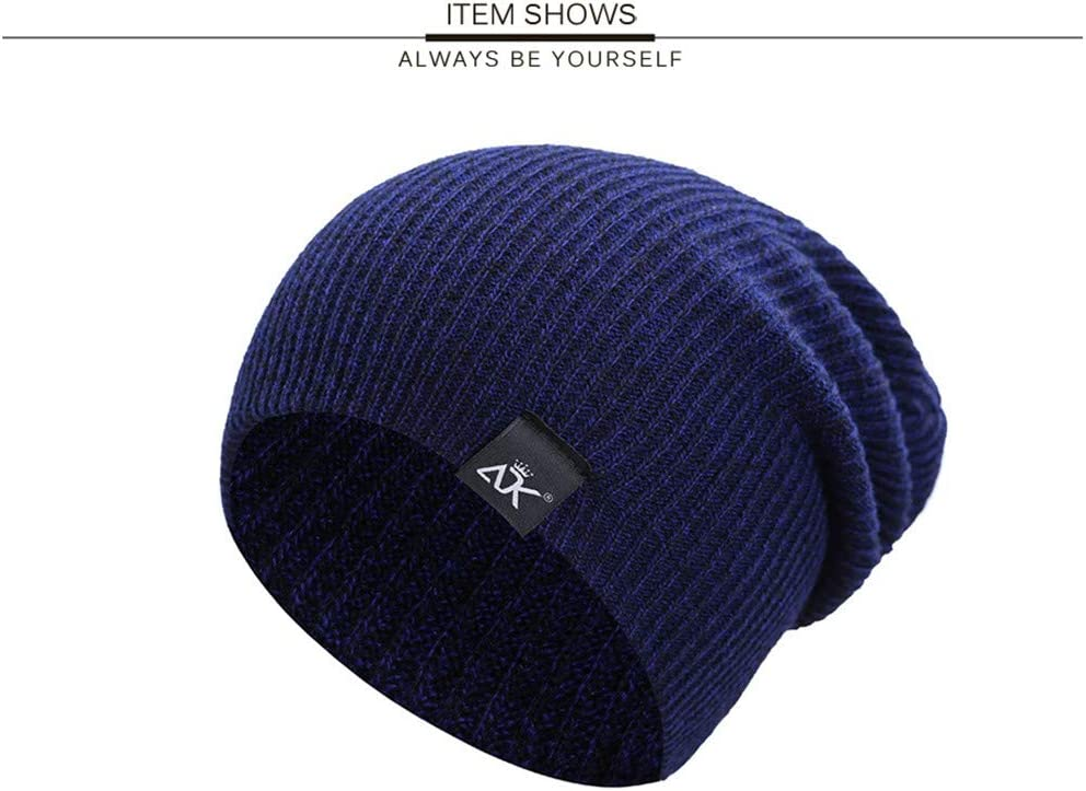 LLOWYY Mixed Color Baggy Beanies for Men Winter Cap Womens Outdoor Bonnet Skiing Hat Female Soft Acrylic Slouchy Knitted Hat