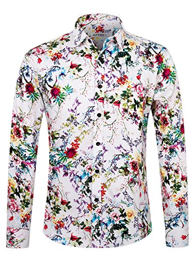 APTRO Men's Flower Cotton Stylish Casual Button Down Long Sleeve Shirt (S, APT1621) ()