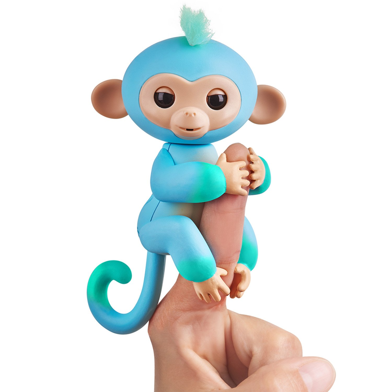 WowWee Fingerlings 2Tone Monkey - Charlie (Blue with Green accents) - Interactive Baby Pet - By