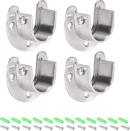 4 Pcs Stainless Steel Wardrobe Closet Rod Bracket U Shaped Open Flange Set Rod Holder with Screws Suitable for Shower Curtain rod end Support