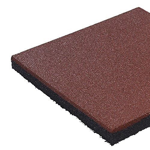 5 Stück Fallschutzmatte 50 x 50 x 2,5 cm, ROT, Fallschutzplatte Bodenschutzmatte Gummimatte von Gartenwelt Riegelsberger