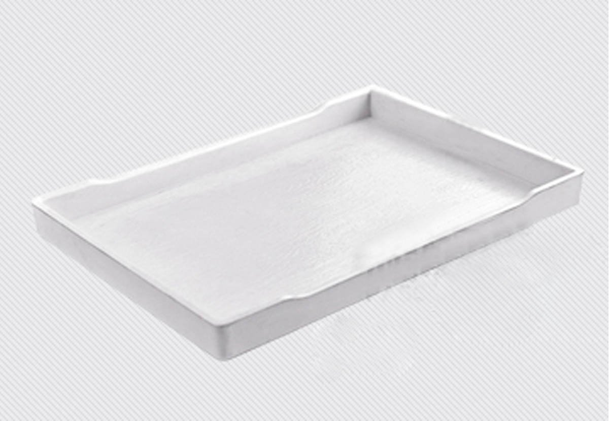 Pet Reptile Rectangle Food Water Dish Anti-flip Plastic Terrarium Bowls Tray for Tortoise Lizards (Large, White)