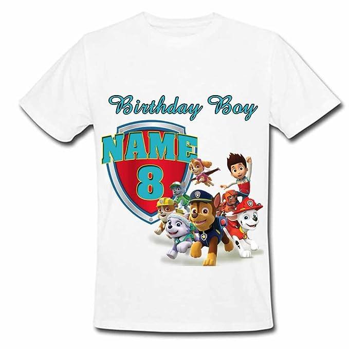 b021b6f9 Sprinklecart Kids Birthday Tee Wear | Personalized Name Printed Paw Patrol  Kids 8th Birthday T Shirt