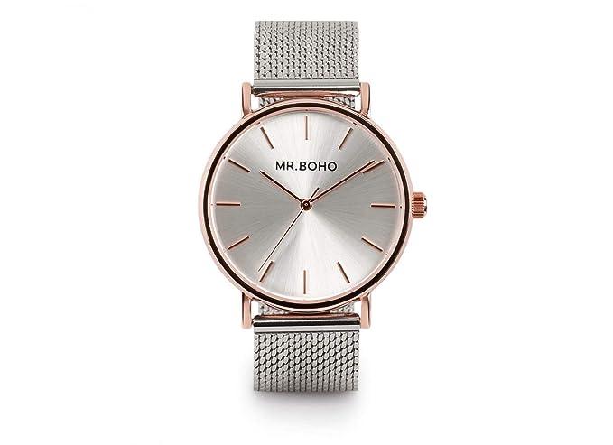 Reloj Mr boho para Mujer con Correa Plateada y Pantalla en Blanco 00728764