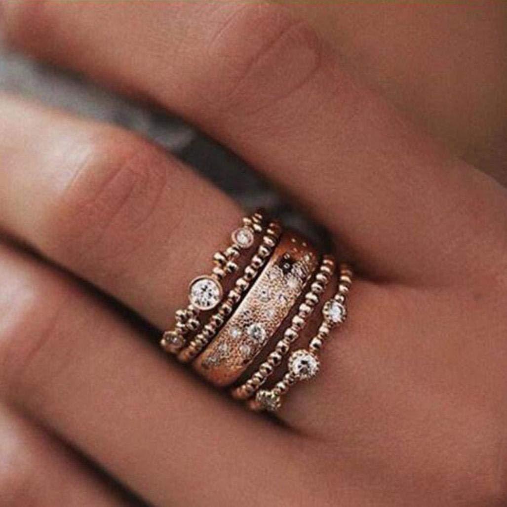 Sinwo Women Elegant Exquisite Diamond Cylindrical Rings Fine Ring Engagement Ring Gift (6, Gold)