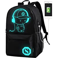 School Bags, GIM Anime Luminous Backpack Canvas Shoulder Daypack Boy Rucksack with USB Cable and Lock and Pencil Bag for Teens Girls Boys