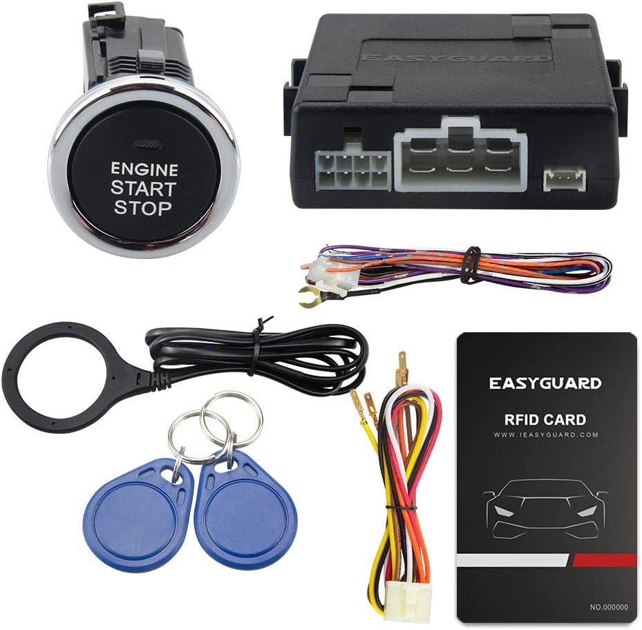 EC110-P2 EASYGUARD EC110-P2 RFID car Alarm kit with Push Start Stop Button with Remote Engine Start for Automatic Cars Optional DC12V