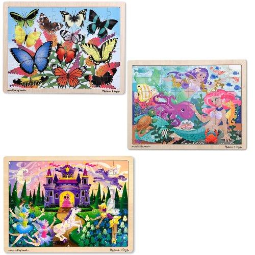 Melissa & Doug Fairy Fantasy, Butterfly Garden, and Mermaid Fantasea 48 Piece Wooden Jigsaw Puzzle Bundle (Set of 3)
