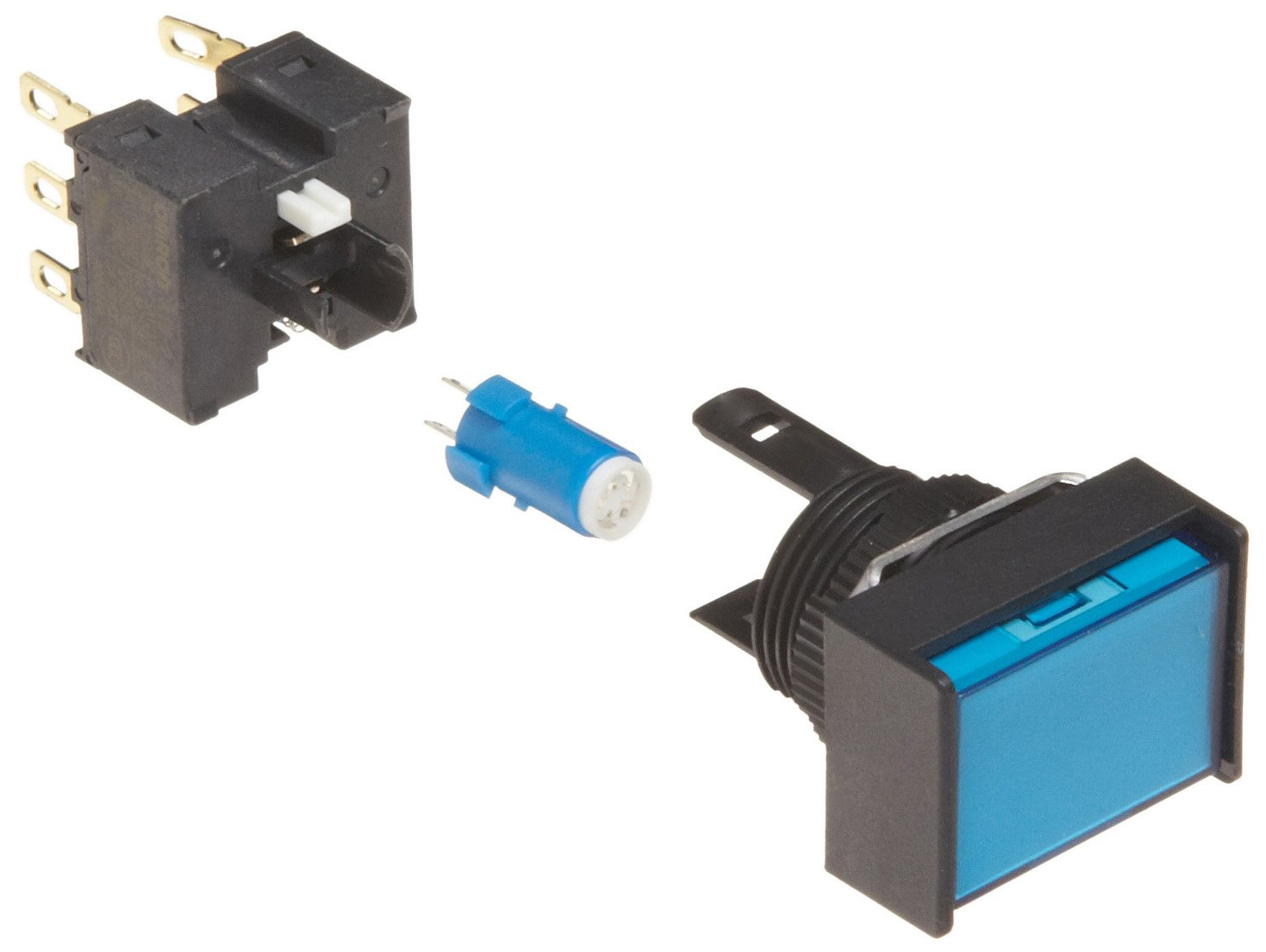 Omron A165L-JAM-5D-2 Two Way Guard Type Pushbutton and Switch, Solder Terminal, IP65 Oil-Resistant, 16mm Mounting Aperture, LED Lighted, Momentary Operation, Rectangular, Blue, 5 VDC Rated Voltage, Double Pole Double Throw Contacts