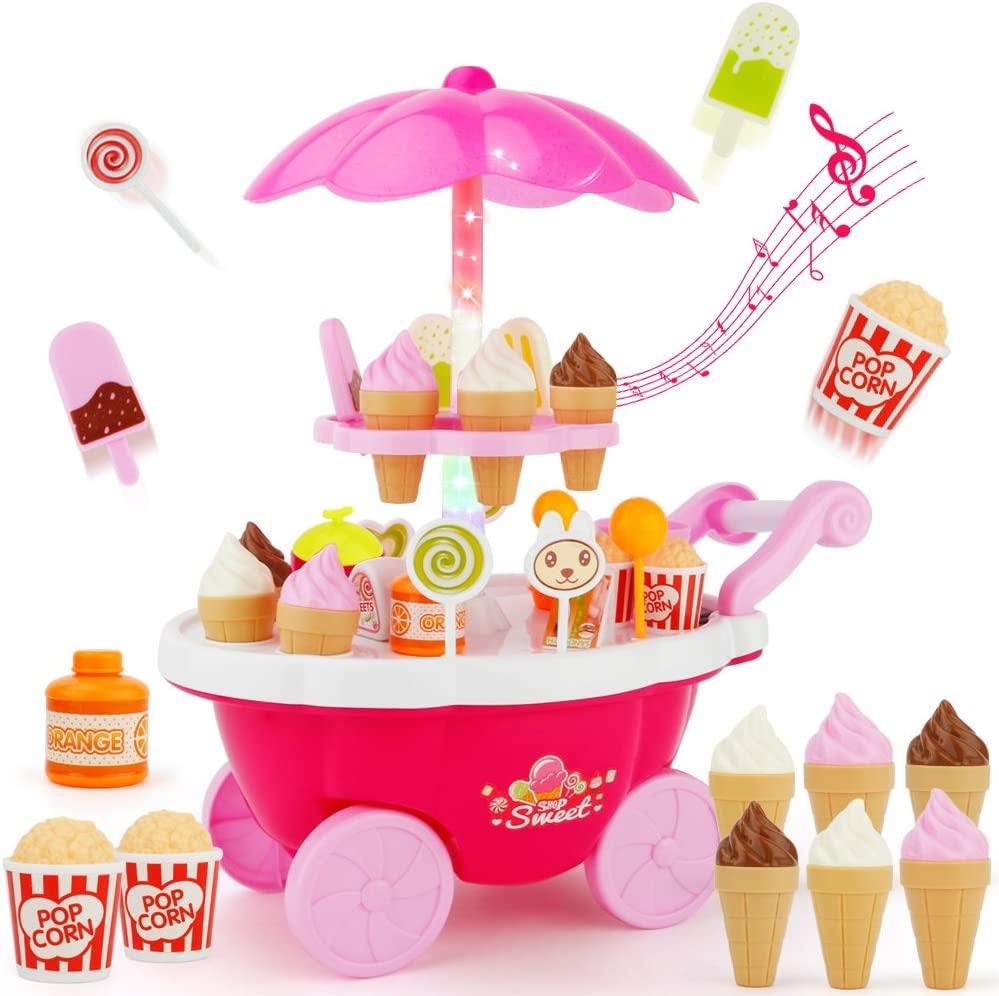 Sotodik 39PCS Ice Cream Candy Cart 39 PCS Pretend Play Food Dessert and Cash Trolley Set Toys with Music and Lighting Kids and Girls Toyselody For Girls and Kids