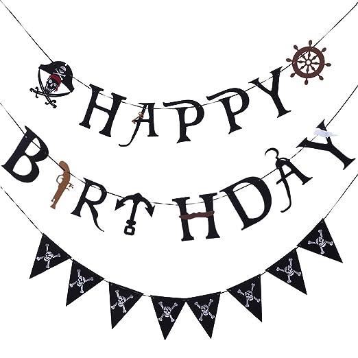 2 UNIDS Pirata Tema Fiesta de Cumpleaños Carta Tire de la ...