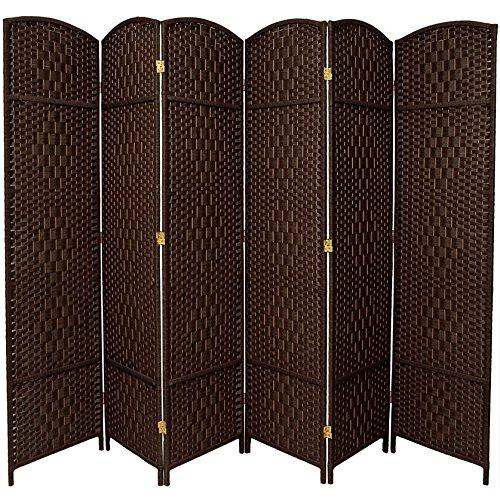 ORIENTAL FURNITURE 7 ft. Tall Diamond Weave Room Divider - Dark Mocha - 6 (Oriental Wood Room Divider)