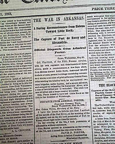 JACKSON MS Mississippi & Little Rock Arkansas 1863 Civil War NYC Newspaper NEW YORK TIMES, May 21, 1863