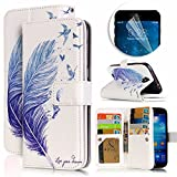 Samsung Galaxy S4 Case, Luxury Dual Wallet Case [9 Card Holder] Premium PU Leather Multifunctional Embossing Pattern Book Style Magnetic Flip Stand Feature Cover Slim Protective Money Pocket Bumper - Blue Feather
