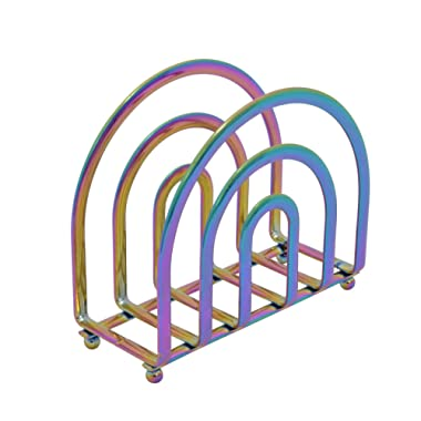 Deluxe Steel Napkin Holder Weighted Self Standing Black (Rainbow)