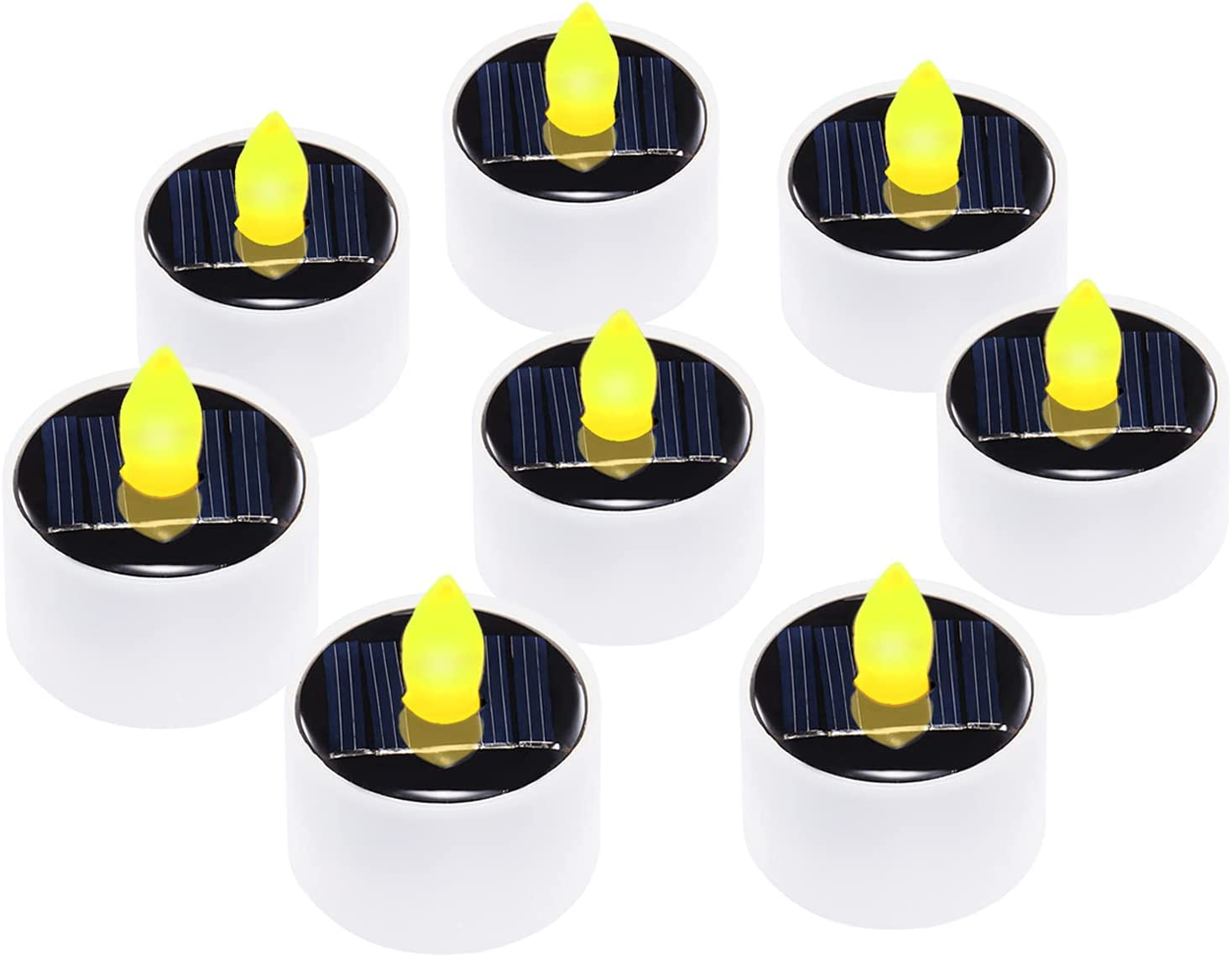 Solar Tea Lights Candles,8-Pack Solar Powered Outdoor Waterproof Flameless Flickering Candles with Dusk to Dawn Sensor for Patio , Party , Pathway and Home Decor
