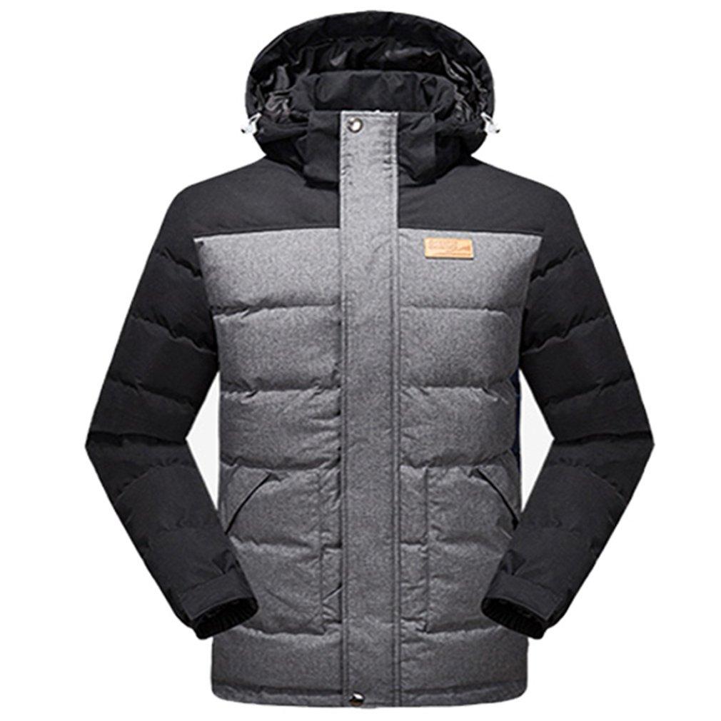 emansmoer Herren Lange Winddicht Winter Warme Kapuze Ente Daunenjacke Parka Wasserdicht Outdoor Sport Camping Wandern Ski Jacke Mantel