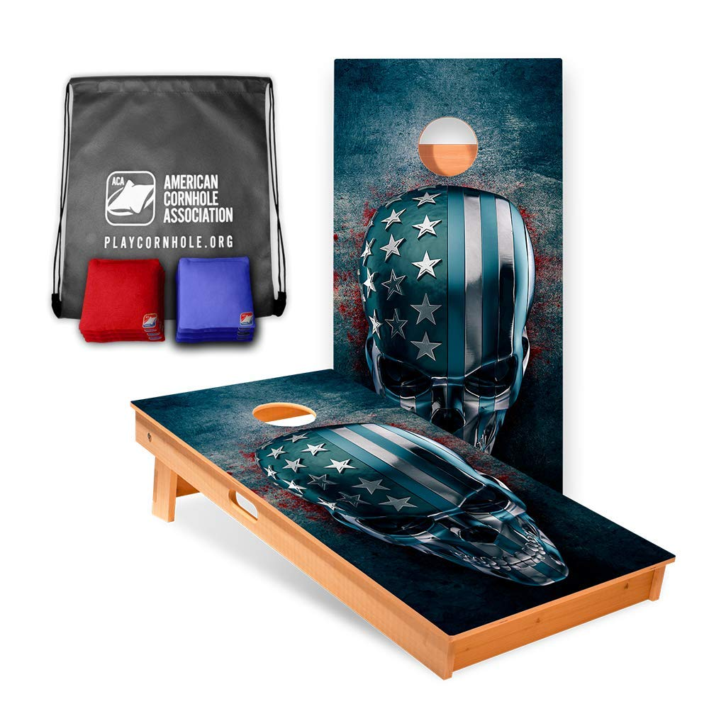 USA Skull Cornhole Boards (8 Corn Filled Bags Included) | Official Cornhole Board Game Set of The American Cornhole Association | The ACA is The Oldest Governing Body in The Sport of Cornhole (2003)