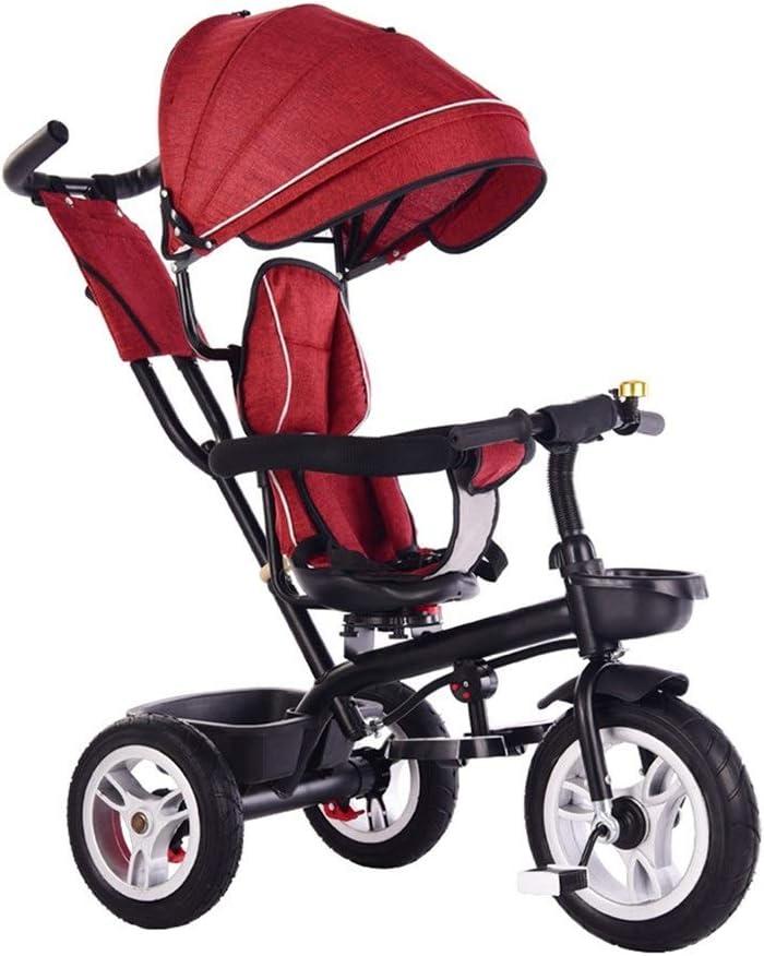 子供三輪車 SONG ベビーカー ベビーバイク 4 in 1 キッズバイク 1-3-6歳のベビーカー スイベルシート 出て行く乗客のおもちゃ ギフトに最適 (Color : Red)