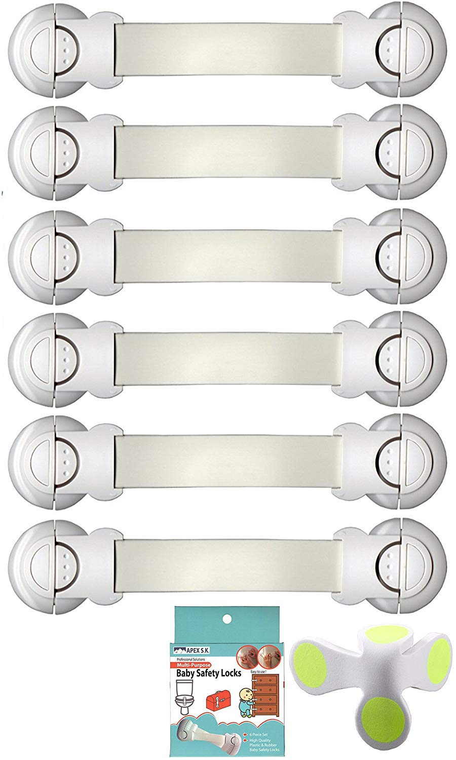 Baby Proof Child and Baby Safety Lock for Toddler Child Proofing Cabinet Cupboard Baby Gate Drawer Toilet Fridge and More 6-Pack Baby Proof Child Security Lock Strap and Latches (White) APEX S.K.