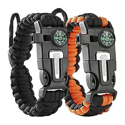 Cobra Survival Bracelet [pack of 2] - Paracord + Compass + Fire Starter + Loud Whistle + Emergency Knife - Hiking Camping Fishing Hunting Gear - Prepare to Survive WTSHTF - Color: black + black&orange