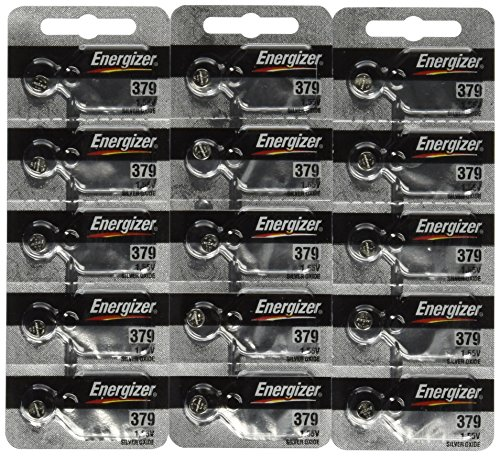 15 Energizer 379 Button Cell Silver Oxide Sr521sw Watch Battery (3 Packs of 5 Batteries)