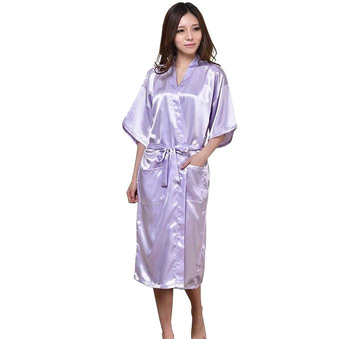 Mujer Hombre Batas Elegantes Moda Retro Kimono Verano Manga Larga Mode De Marca Unisex Pareja Satín Pijamas Mujer Color Sólido V-Cuello con Cinturón ...