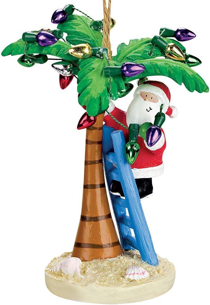 Cape Shore Coastal Santa Decorating Tropical Island Palm Tree Christmas Ornament