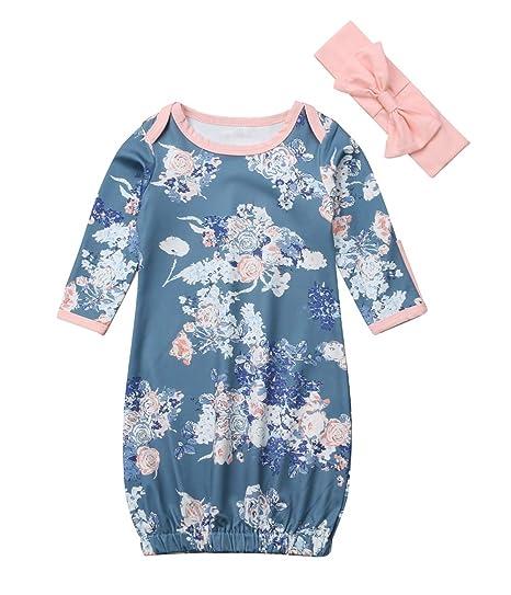 6a87642b4 Amazon.com  MAINESAKA Newborn Baby Girl Long Sleeve Floral Sleeper ...