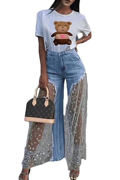 Pantalones Vaqueros de Mujer Pantalones de Mezclilla Malla ...