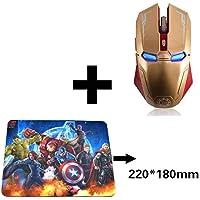 fhong Mouse inalámbrico de 2,4 GHz, 6 Botones, silencioso, Iron Man, Mouse Ajustable 1200/1600/2400 para computadora/portátil/PC, Gold with Mouse Pad