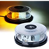 Xprite Moonbeam Series White and Amber 14 Modes 24W 24-LED High Intensity Emergency Vehicle Strobe and Rotating Light Beacon with Magnetic Mounts