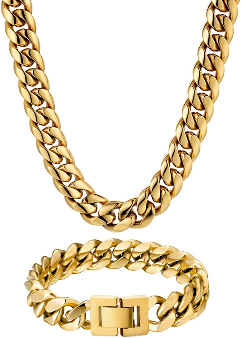 For Men Stainless Steel Cuban Bracelet Double Curb Chain Hip Hop Link Chain