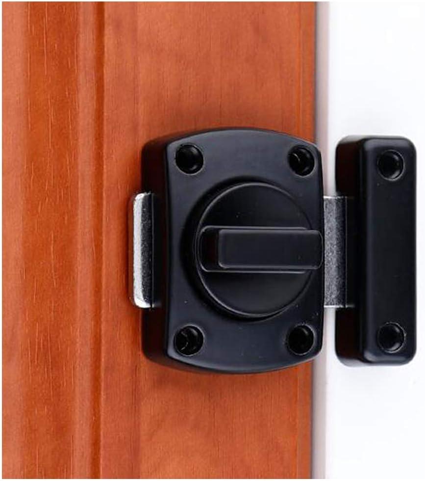 Security Door Lock, Bolt Lock Solid revolving Door Lock/pet Door Lock, Cabinet Furniture, Windows, Bathroom, (Black)