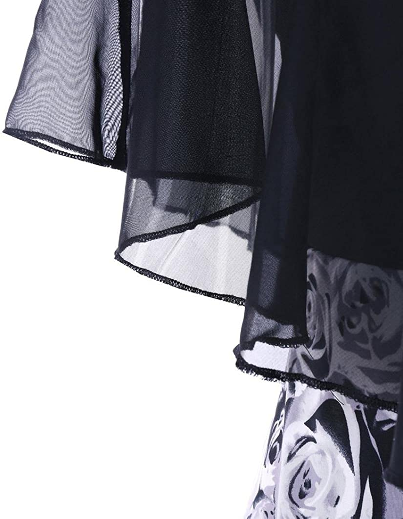 Kangma Women Plus Size Rose Chiffon Ruffles Mini Dress