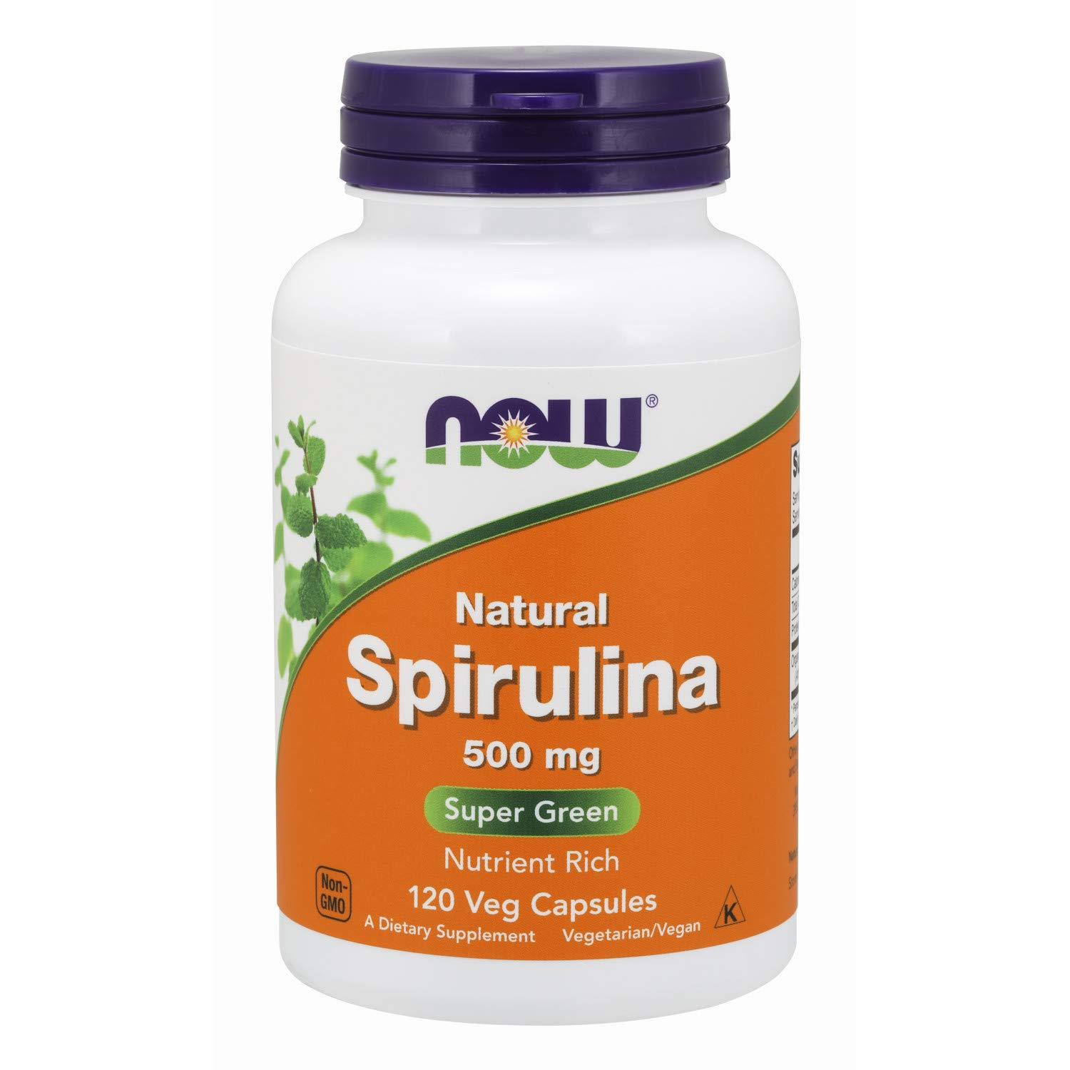 NOW Supplements, Natural Spirulina 500 mg with Beta-Carotene (Vitamin A) and Vitamin B-12, and naturally occurring Protein and GLA (Gamma Linolenic Acid), 120 Veg Capsules