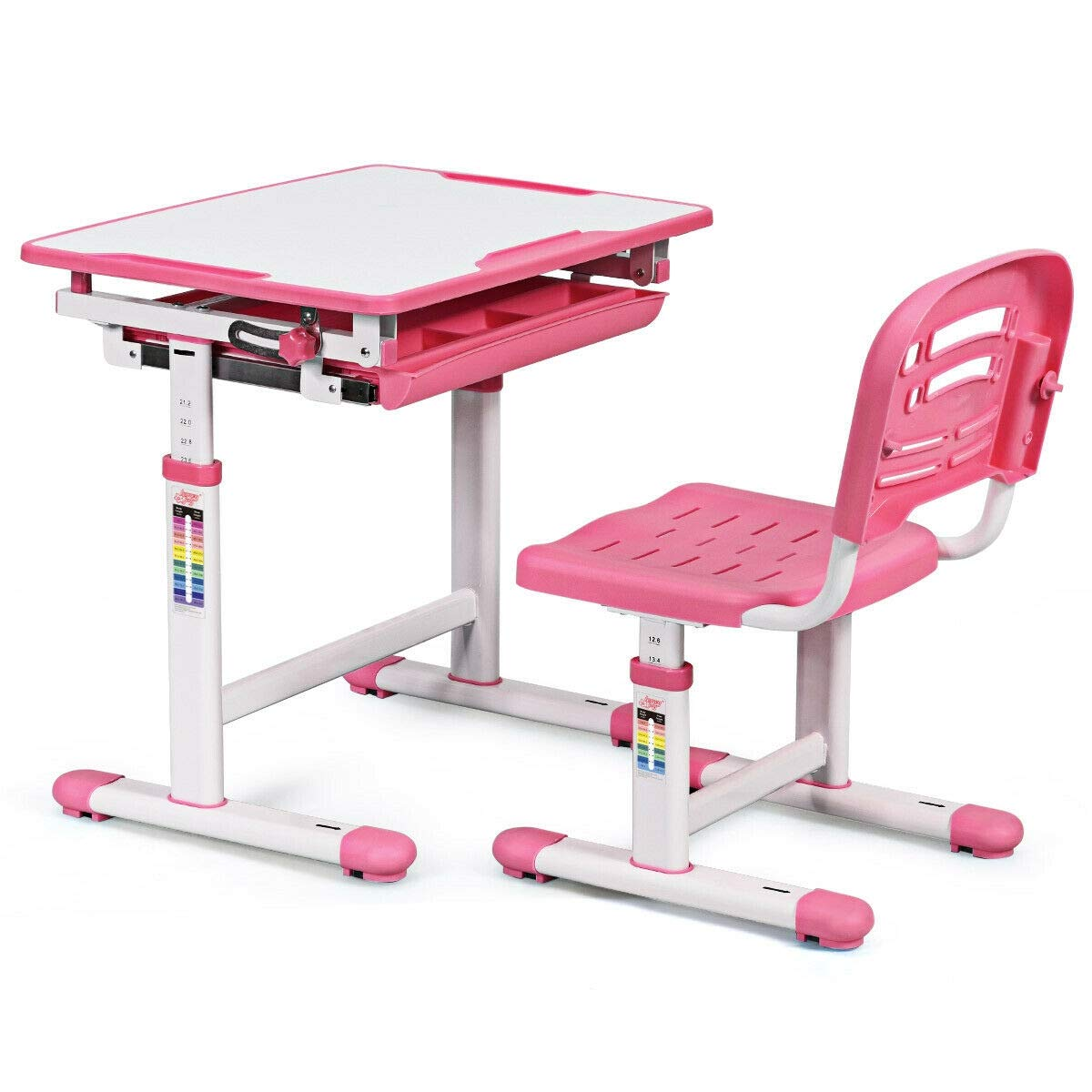 JF World Adjustable Children Multifunctional Study Drawing Desk Chair Set-Pink by JF World